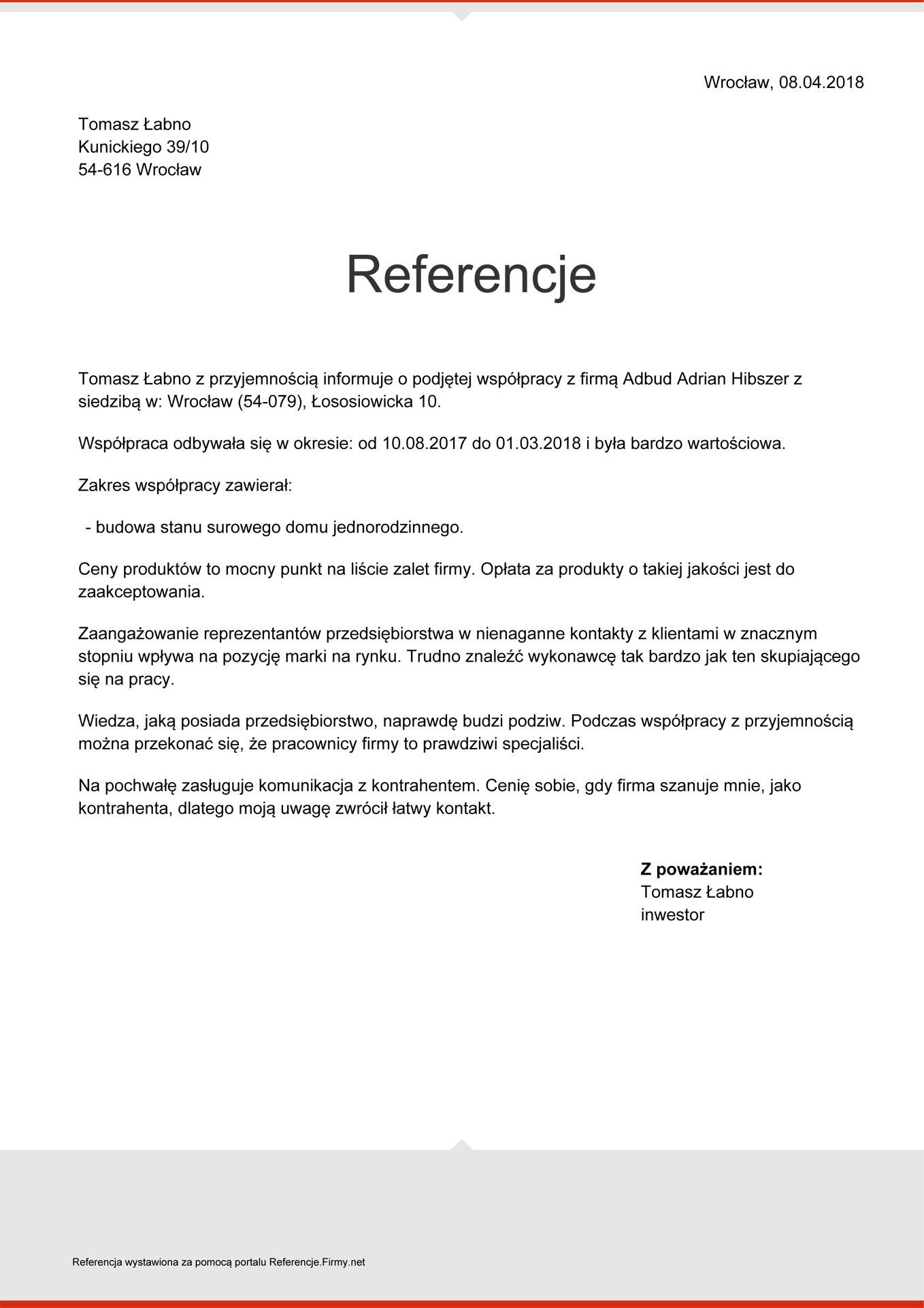 Referencje-Łabno